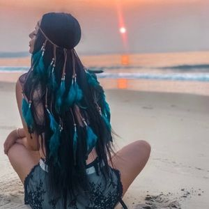 Bohemian Long Blue Feather Headdress Headband